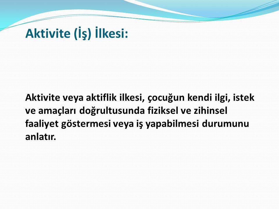 Aktivite (İş) İlkesi: Aktivite veya aktiflik ilkesi, çocuğun kendi ilgi, istek ve amaçları doğrultusunda fiziksel ve zihinsel faaliyet göstermesi veya