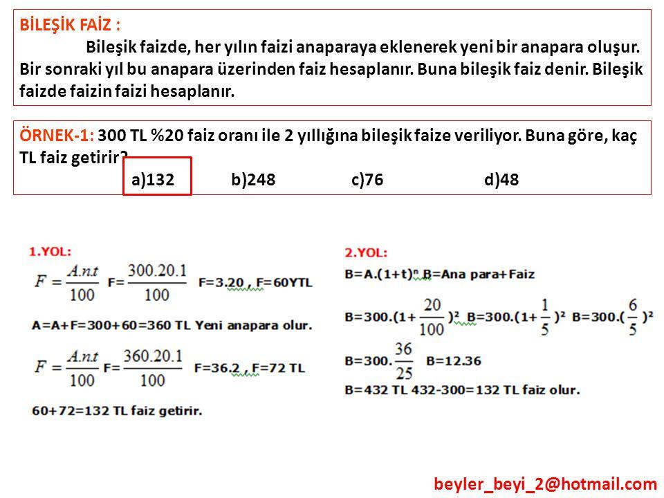 beyler_beyi_2@hotmail.com BİLEŞİK FAİZ : Bileşik faizde, her yılın faizi anaparaya eklenerek yeni bir anapara oluşur. Bir sonraki yıl bu anapara üzeri