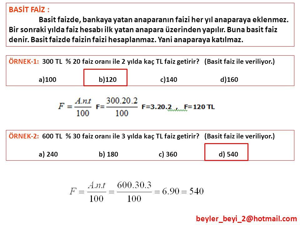 beyler_beyi_2@hotmail.com BASİT FAİZ : Basit faizde, bankaya yatan anaparanın faizi her yıl anaparaya eklenmez. Bir sonraki yılda faiz hesabı ilk yata