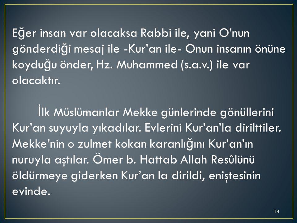 E ğ er insan var olacaksa Rabbi ile, yani O'nun gönderdi ğ i mesaj ile -Kur'an ile- Onun insanın önüne koydu ğ u önder, Hz. Muhammed (s.a.v.) ile var