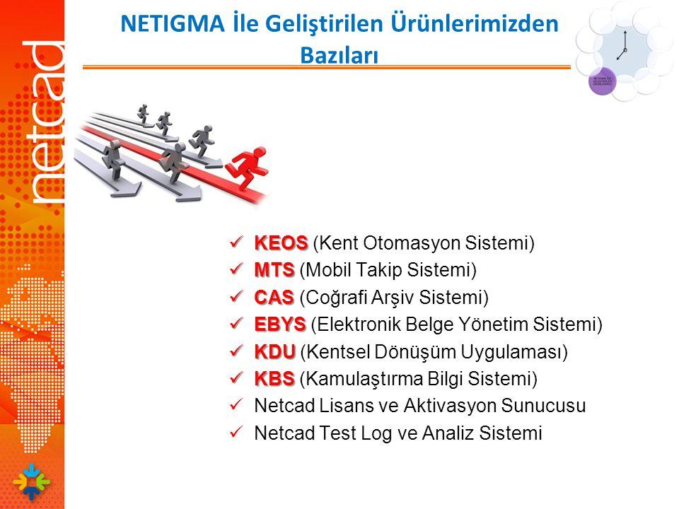 NETIGMA İle Geliştirilen Ürünlerimizden Bazıları  KEOS  KEOS (Kent Otomasyon Sistemi)  MTS  MTS (Mobil Takip Sistemi)  CAS  CAS (Coğrafi Arşiv Sistemi)  EBYS  EBYS (Elektronik Belge Yönetim Sistemi)  KDU  KDU (Kentsel Dönüşüm Uygulaması)  KBS  KBS (Kamulaştırma Bilgi Sistemi)  Netcad Lisans ve Aktivasyon Sunucusu  Netcad Test Log ve Analiz Sistemi