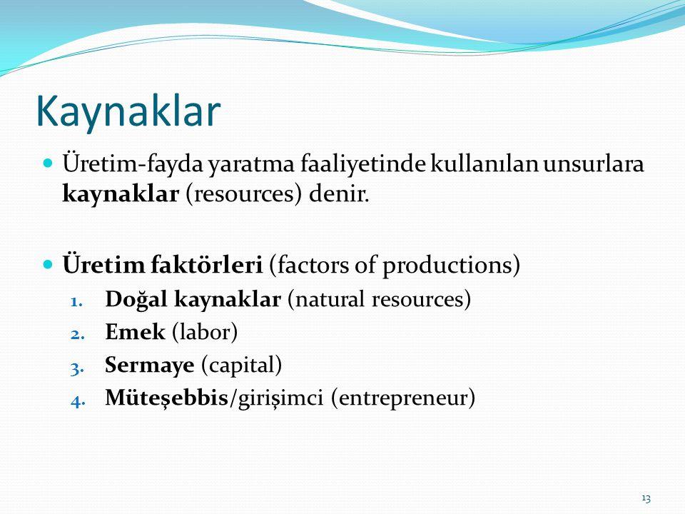 Kaynaklar  Üretim-fayda yaratma faaliyetinde kullanılan unsurlara kaynaklar (resources) denir.  Üretim faktörleri (factors of productions) 1. Doğal