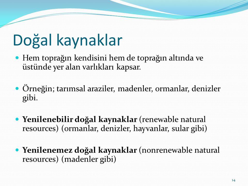 Doğal kaynaklar  Hem toprağın kendisini hem de toprağın altında ve üstünde yer alan varlıkları kapsar.  Örneğin; tarımsal araziler, madenler, ormanl