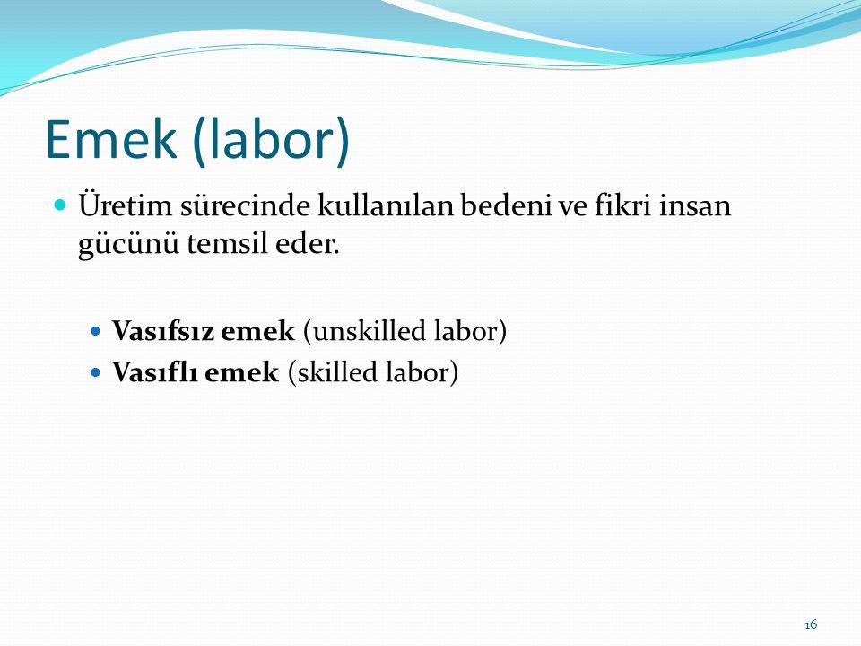Emek (labor)  Üretim sürecinde kullanılan bedeni ve fikri insan gücünü temsil eder.  Vasıfsız emek (unskilled labor)  Vasıflı emek (skilled labor)
