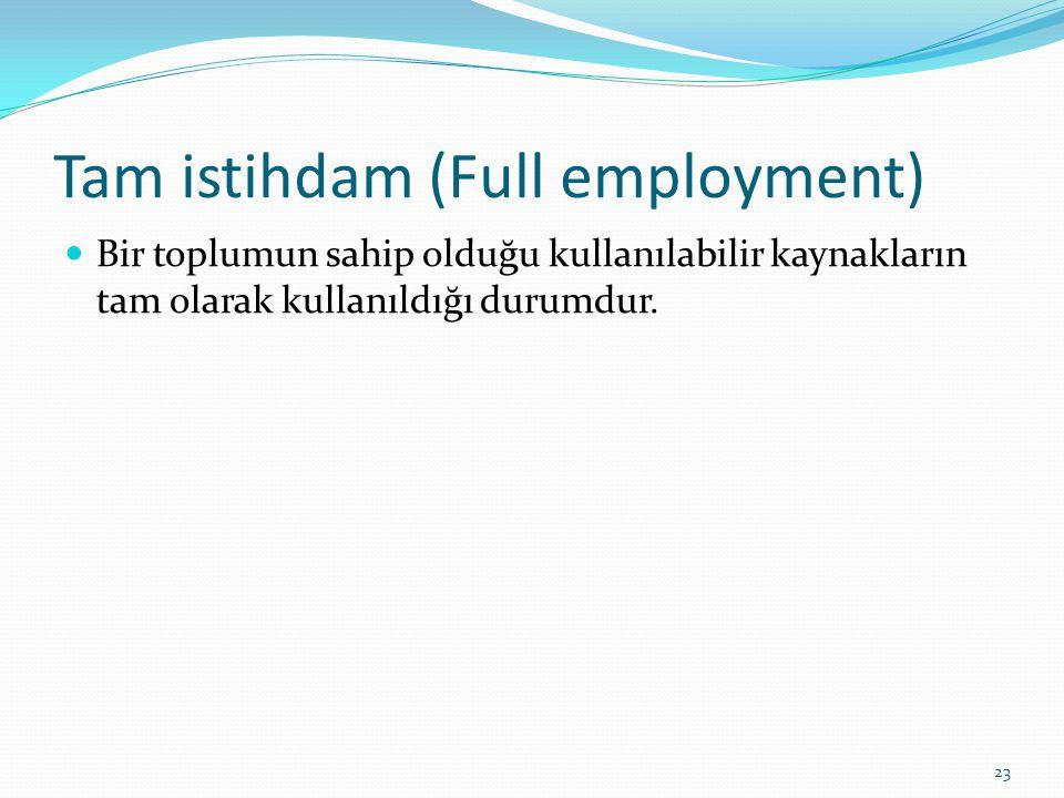 Tam istihdam (Full employment)  Bir toplumun sahip olduğu kullanılabilir kaynakların tam olarak kullanıldığı durumdur. 23