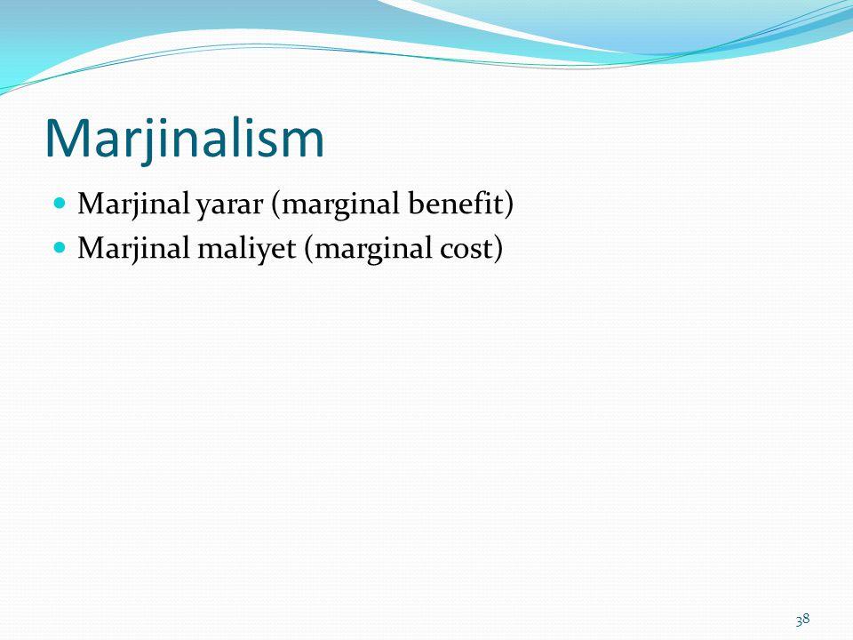 Marjinalism  Marjinal yarar (marginal benefit)  Marjinal maliyet (marginal cost) 38
