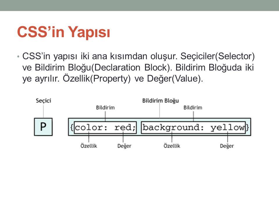 CSS'in Yapısı • CSS'in yapısı iki ana kısımdan oluşur. Seçiciler(Selector) ve Bildirim Bloğu(Declaration Block). Bildirim Bloğuda iki ye ayrılır. Özel