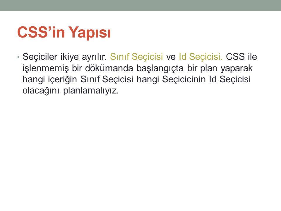 CSS'in Yapısı • Seçiciler ikiye ayrılır. Sınıf Seçicisi ve Id Seçicisi. CSS ile işlenmemiş bir dökümanda başlangıçta bir plan yaparak hangi içeriğin S