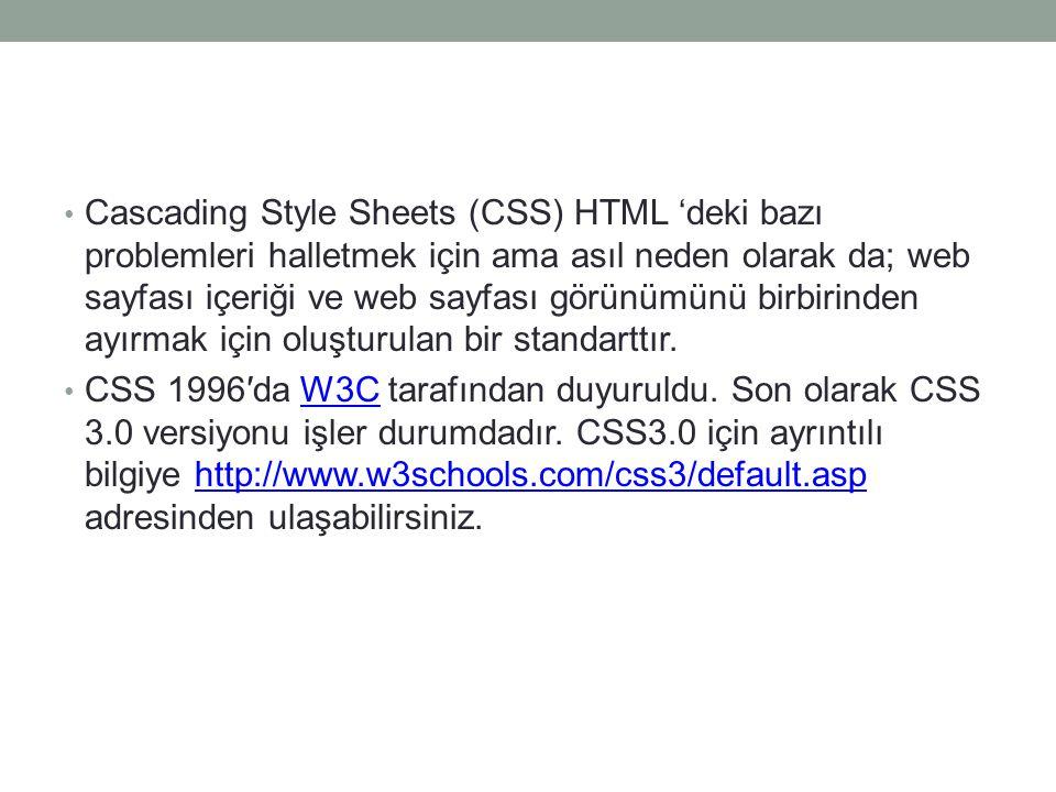 • Cascading Style Sheets (CSS) HTML 'deki bazı problemleri halletmek için ama asıl neden olarak da; web sayfası içeriği ve web sayfası görünümünü birb