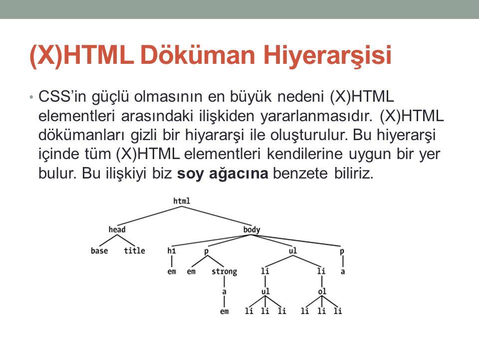 (X)HTML Döküman Hiyerarşisi • CSS'in güçlü olmasının en büyük nedeni (X)HTML elementleri arasındaki ilişkiden yararlanmasıdır. (X)HTML dökümanları giz