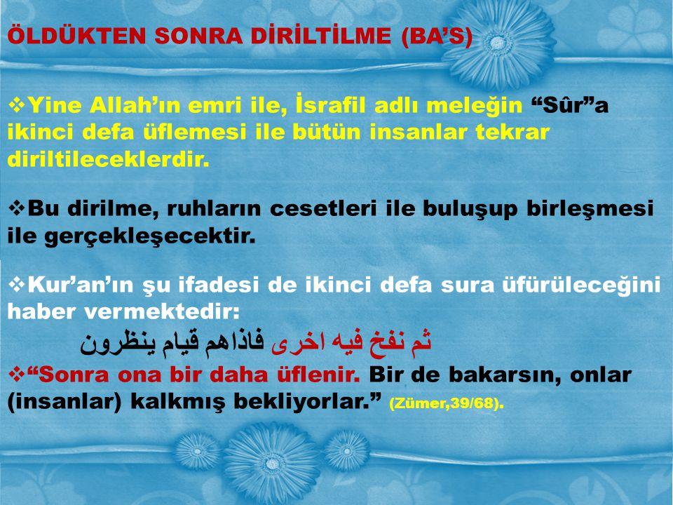 """ÖLDÜKTEN SONRA DİRİLTİLME (BA'S)  Yine Allah'ın emri ile, İsrafil adlı meleğin """"Sûr""""a ikinci defa üflemesi ile bütün insanlar tekrar diriltileceklerd"""