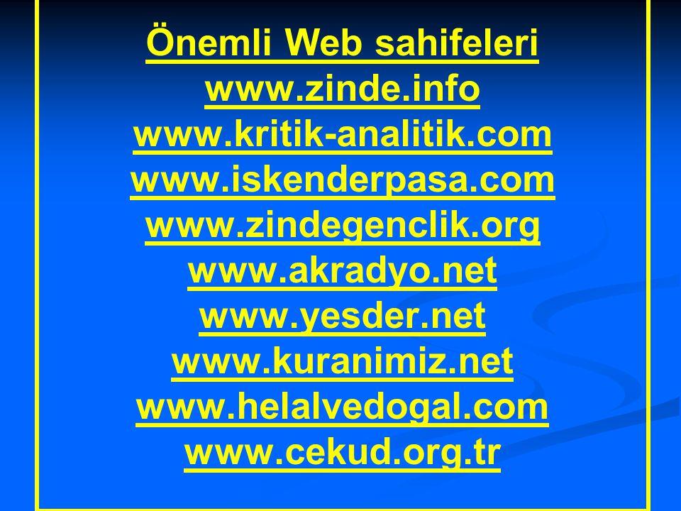Önemli Web sahifeleri www.zinde.info www.kritik-analitik.com www.iskenderpasa.com www.zindegenclik.org www.akradyo.net www.yesder.net www.kuranimiz.net www.helalvedogal.com www.cekud.org.tr