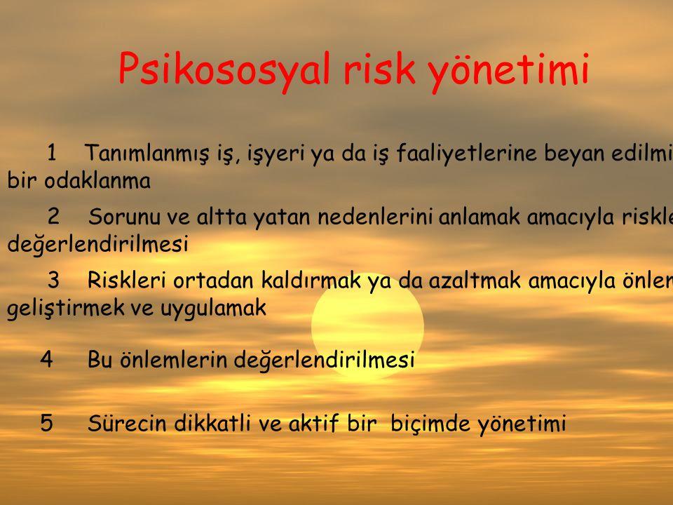 Psikososyal risk yönetimi 1 Tanımlanmış iş, işyeri ya da iş faaliyetlerine beyan edilmiş bir odaklanma 2 Sorunu ve altta yatan nedenlerini anlamak ama