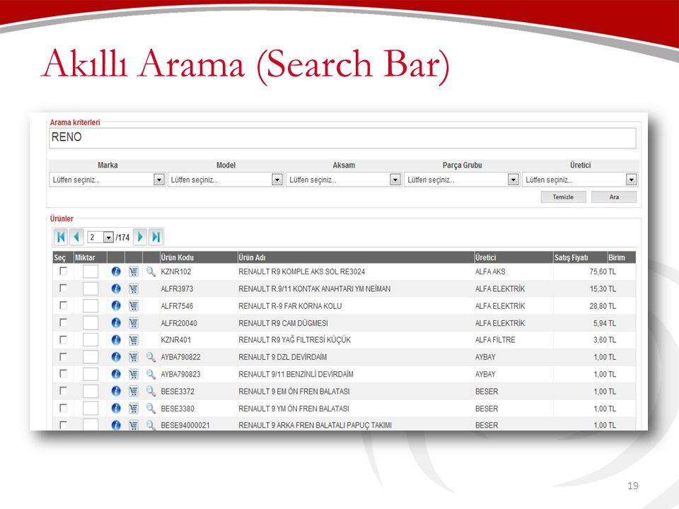 Akıllı Arama (Search Bar) 19