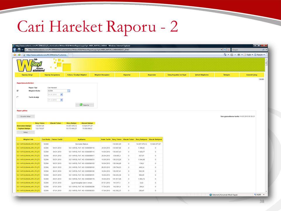 Cari Hareket Raporu - 2 38
