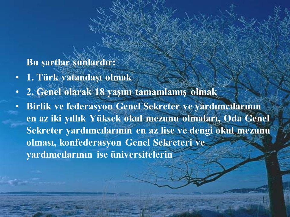 Bu şartlar şunlardır: •1.Türk vatandaşı olmak •2.