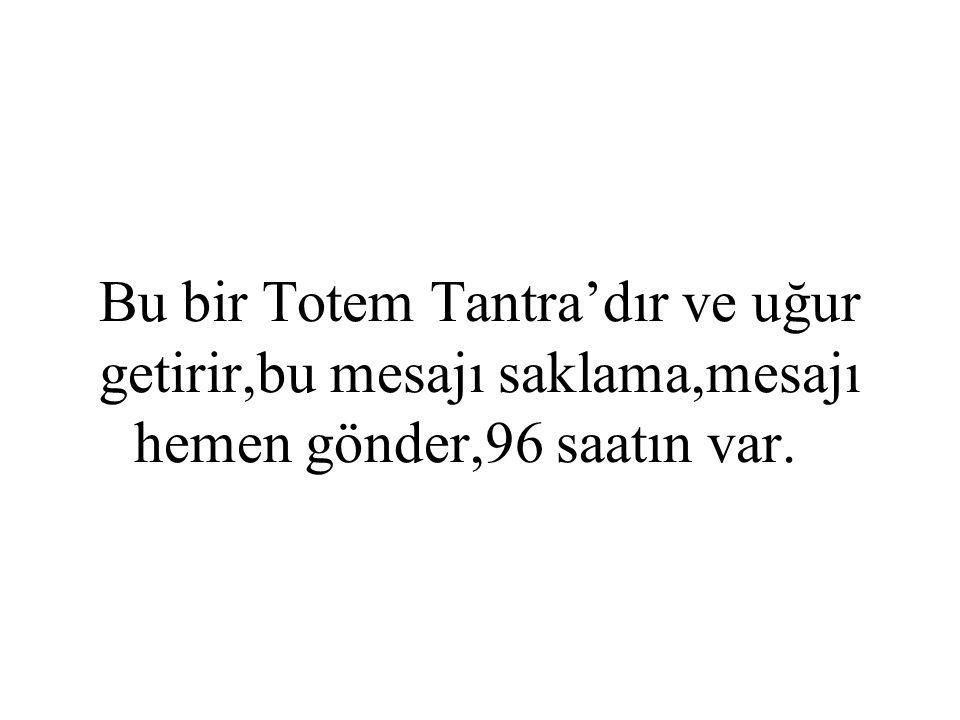 Bu bir Totem Tantra'dır ve uğur getirir,bu mesajı saklama,mesajı hemen gönder,96 saatın var.
