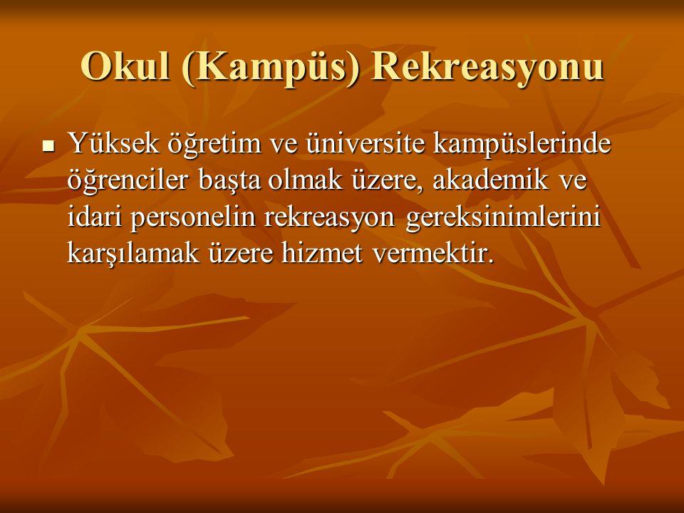 Okul (Kampüs) Rekreasyonu  Yüksek öğretim ve üniversite kampüslerinde öğrenciler başta olmak üzere, akademik ve idari personelin rekreasyon gereksini
