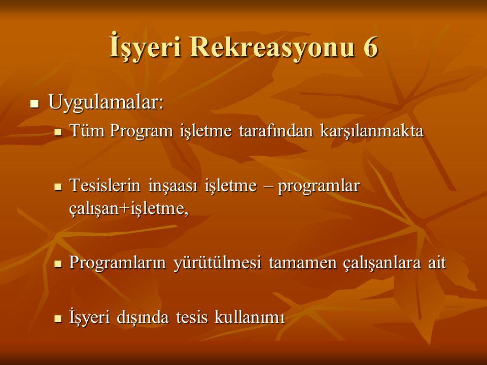 İşyeri Rekreasyonu 6  Uygulamalar:  Tüm Program işletme tarafından karşılanmakta  Tesislerin inşaası işletme – programlar çalışan+işletme,  Progra