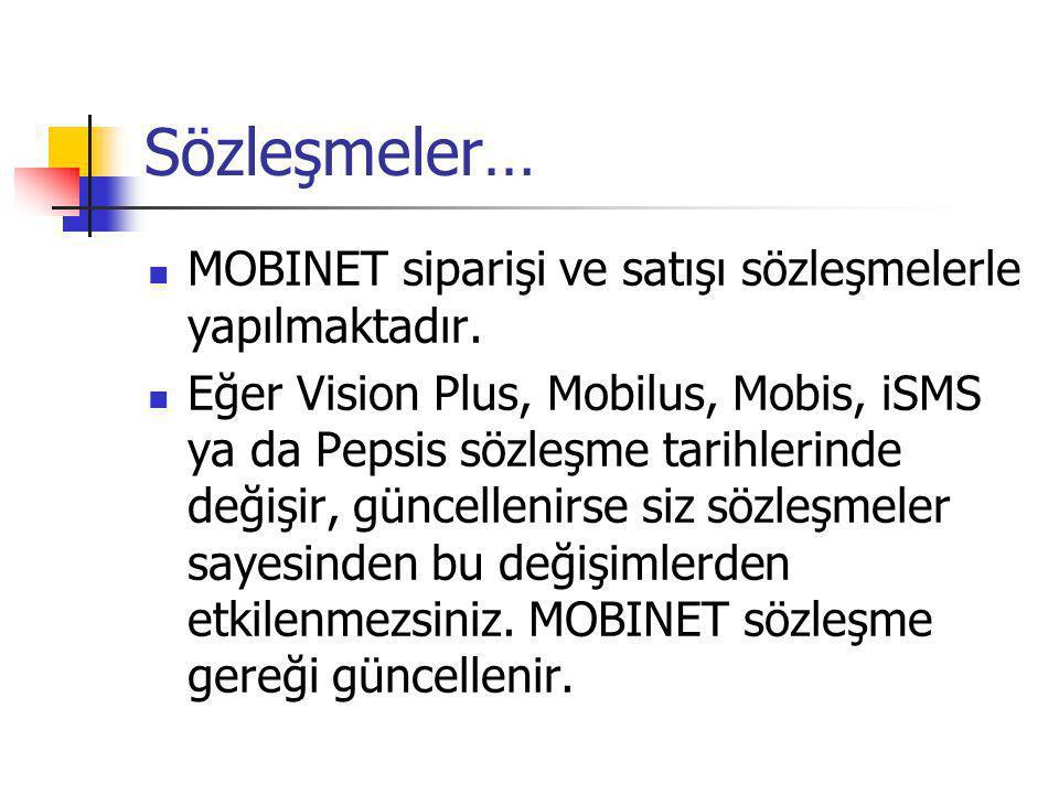 Sözleşmeler…  MOBINET siparişi ve satışı sözleşmelerle yapılmaktadır.  Eğer Vision Plus, Mobilus, Mobis, iSMS ya da Pepsis sözleşme tarihlerinde değ