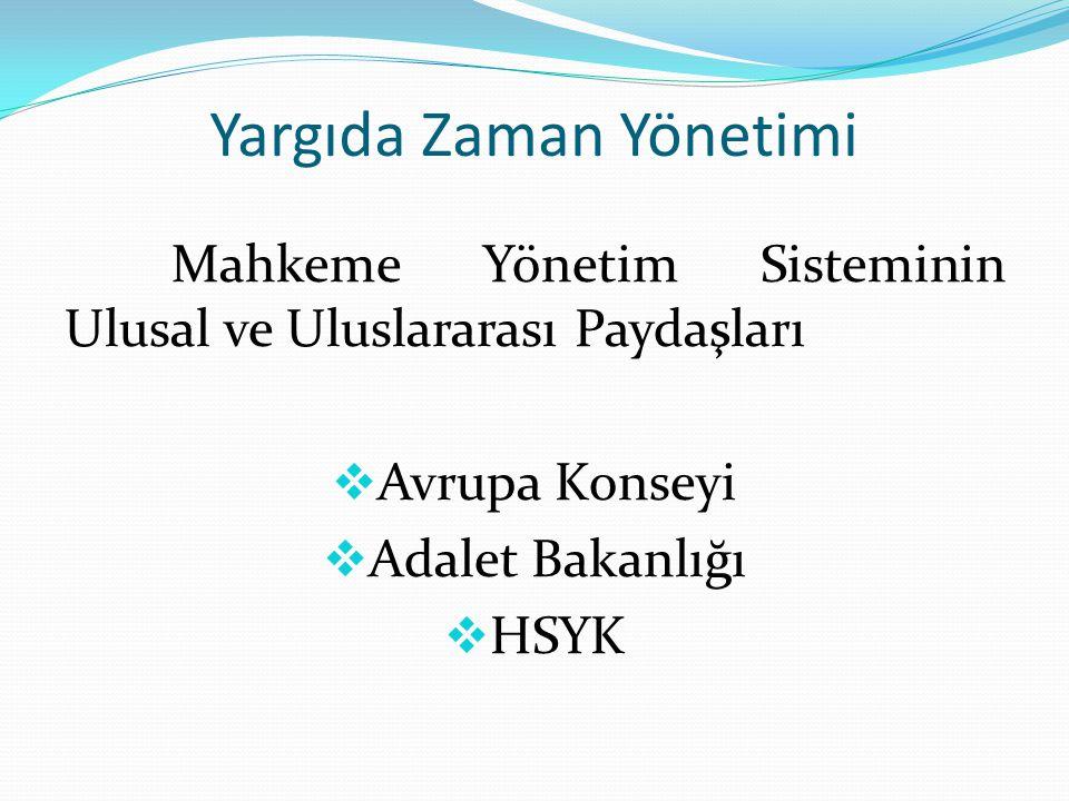 Yargıda Zaman Yönetimi Erzurum Adliyesinin Yargıda Zaman Yönetimi Projesi kapsamında paydaş kabul ettiği kurumlar;  Erzurum Barosu  İl Emniyet Müdürlüğü  İl Jandarma Komutanlığı  Adli Tıp Grup Başkanlığı  Kamu Hastaneleri Birliği Genel Sekreterliği  Nüfus ve Vatandaşlık Müdürlüğü  Atatürk Üniversitesi Adli Tıp Ana Bilim Dalı Başkanlığı