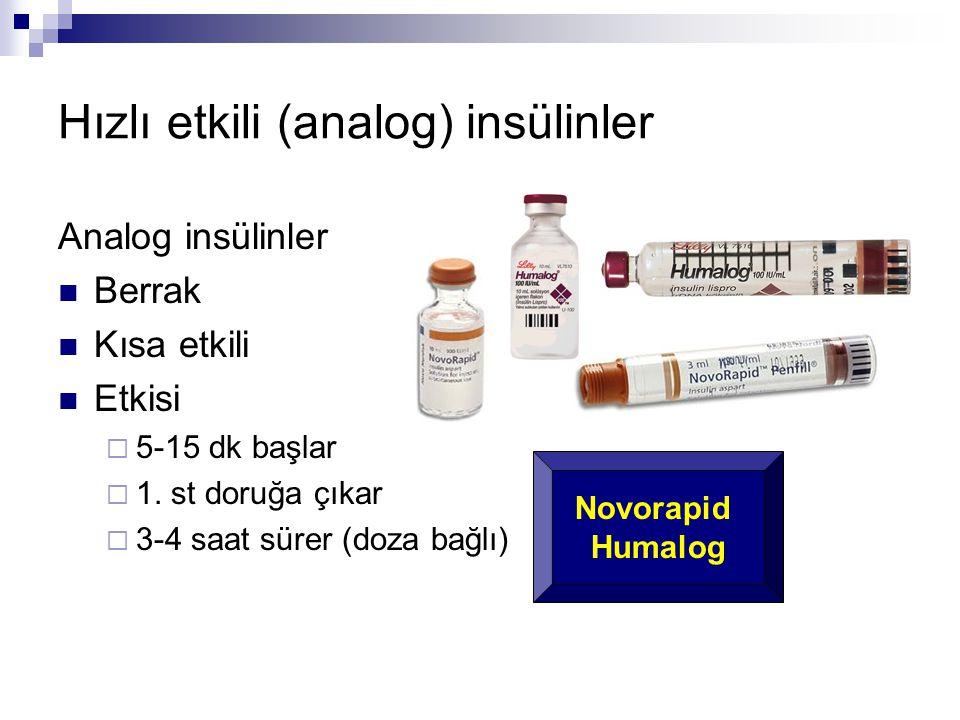 Hızlı etkili (analog) insülinler Analog insülinler  Berrak  Kısa etkili  Etkisi  5-15 dk başlar  1. st doruğa çıkar  3-4 saat sürer (doza bağlı)