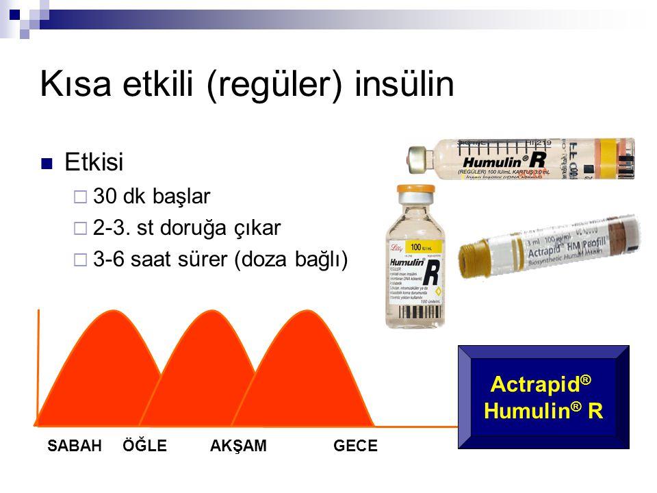 Kısa etkili (regüler) insülin  Etkisi  30 dk başlar  2-3. st doruğa çıkar  3-6 saat sürer (doza bağlı) SABAHÖĞLEAKŞAM GECE Actrapid ® Humulin ® R