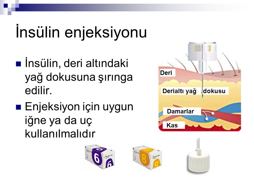 İnsülin enjeksiyonu  İnsülin, deri altındaki yağ dokusuna şırınga edilir.  Enjeksiyon için uygun iğne ya da uç kullanılmalıdır Deri Derialtı yağdoku