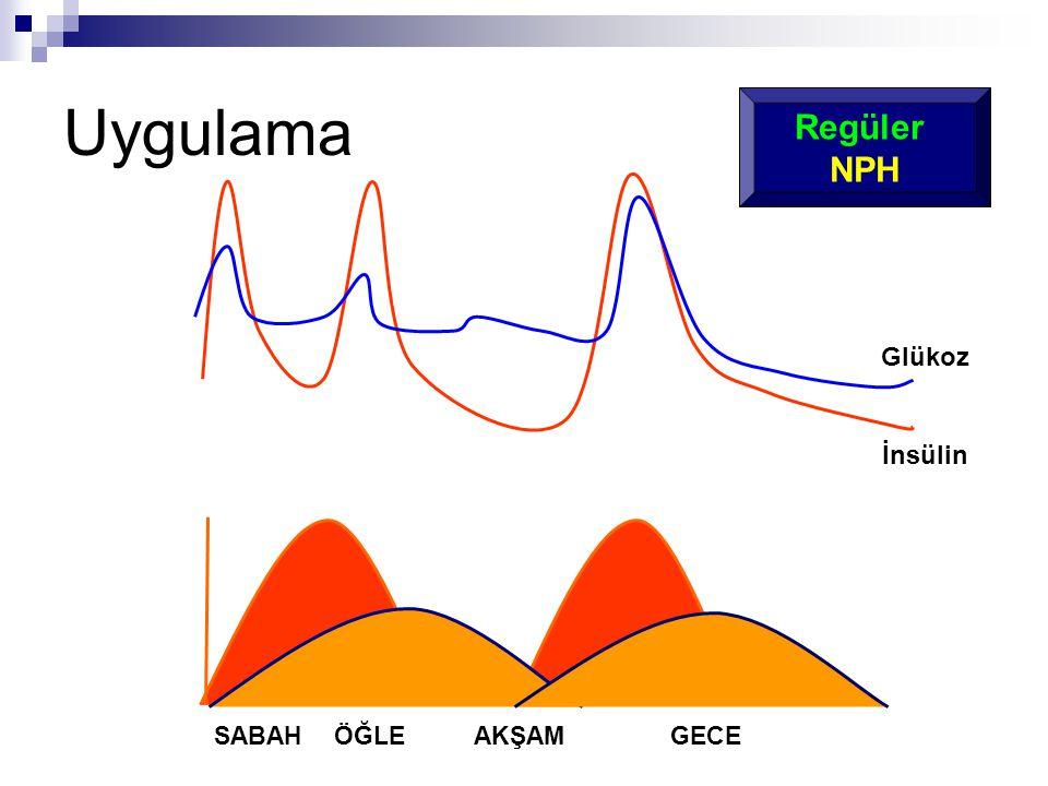 SABAHÖĞLEAKŞAM GECE Glükoz İnsülin Regüler NPH Uygulama