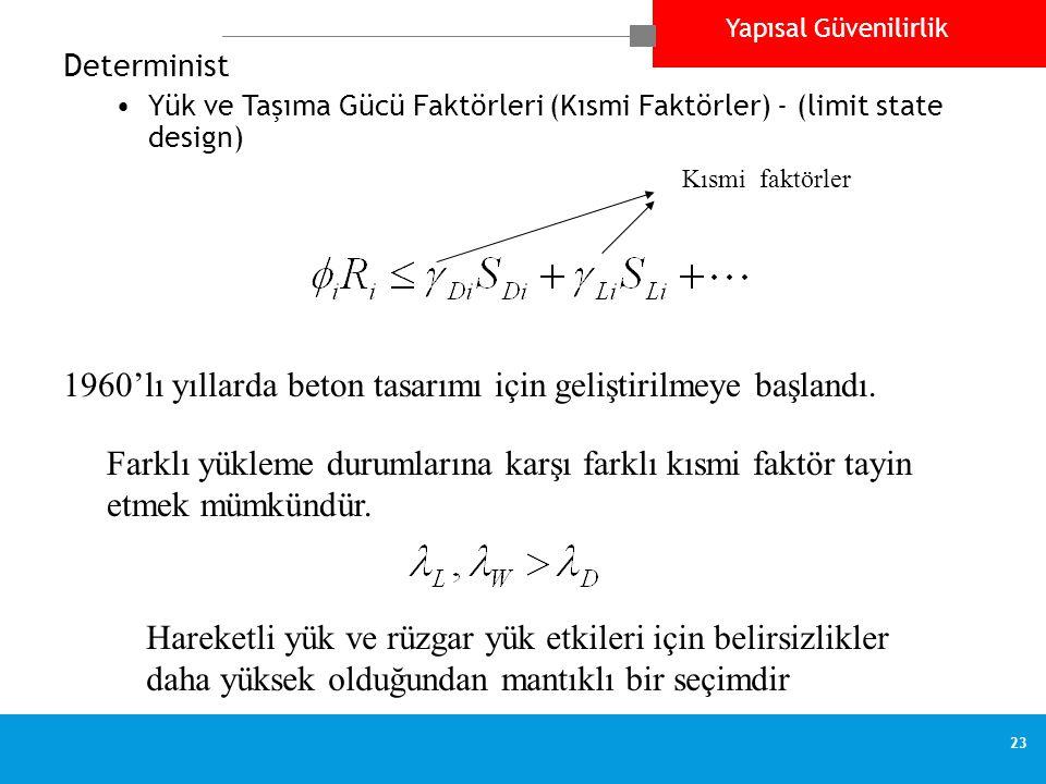 Yapısal Güvenilirlik 23 Determinist •Yük ve Taşıma Gücü Faktörleri (Kısmi Faktörler) - (limit state design) Kısmi faktörler 1960'lı yıllarda beton tas