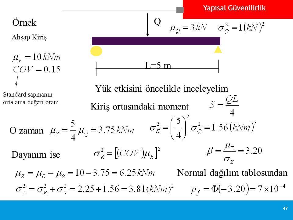 Yapısal Güvenilirlik 47 Örnek Q Ahşap Kiriş L=5 m Standard sapmanın ortalama değeri oranı Yük etkisini öncelikle inceleyelim Kiriş ortasındaki moment O zaman Dayanım ise Normal dağılım tablosundan