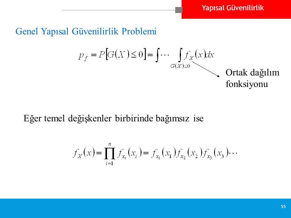 Yapısal Güvenilirlik 55 Genel Yapısal Güvenilirlik Problemi Ortak dağılım fonksiyonu Eğer temel değişkenler birbirinde bağımsız ise