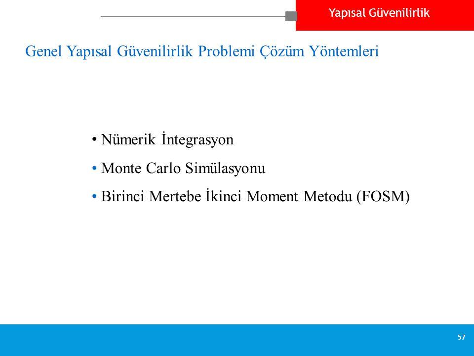 Yapısal Güvenilirlik 57 Genel Yapısal Güvenilirlik Problemi Çözüm Yöntemleri • Nümerik İntegrasyon • Monte Carlo Simülasyonu • Birinci Mertebe İkinci