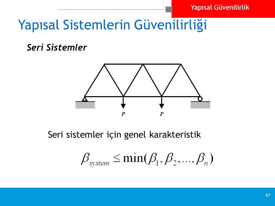 Yapısal Güvenilirlik 67 Yapısal Sistemlerin Güvenilirliği  Seri Sistemler Seri sistemler için genel karakteristik