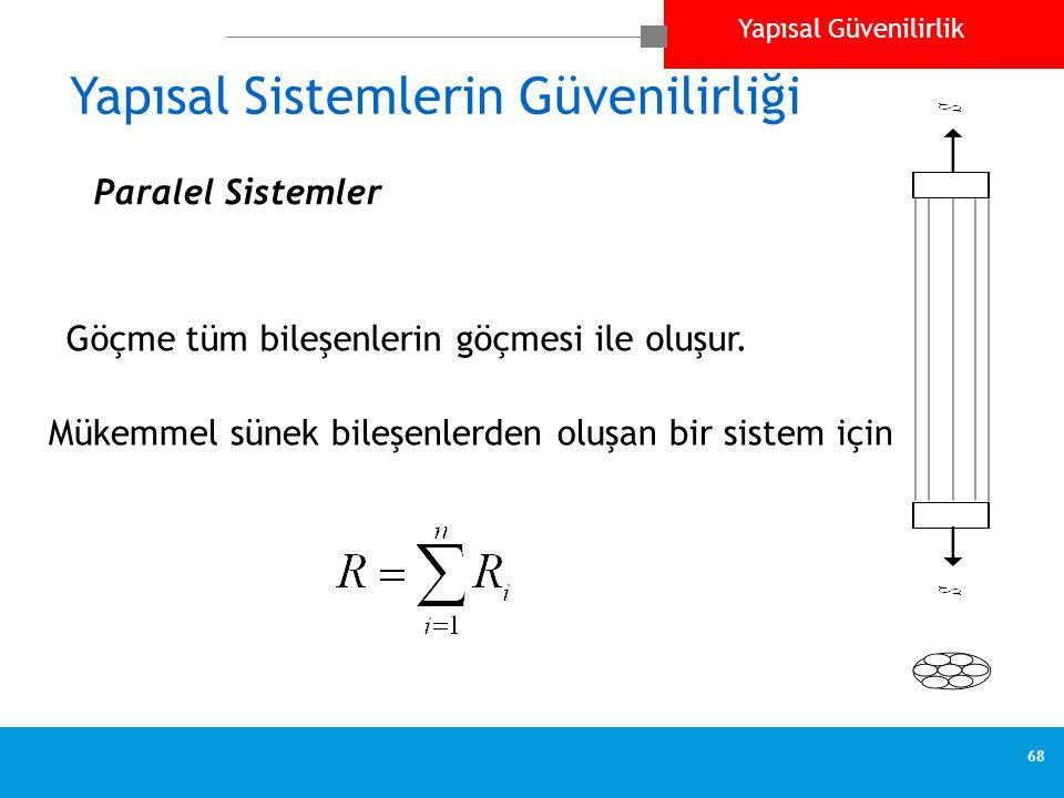 Yapısal Güvenilirlik 68 Yapısal Sistemlerin Güvenilirliği Göçme tüm bileşenlerin göçmesi ile oluşur.