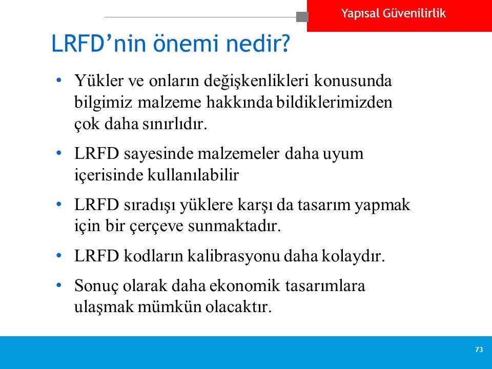 Yapısal Güvenilirlik 73 LRFD'nin önemi nedir.