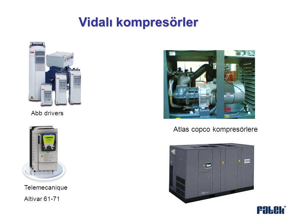 Vidalı kompresörler Abb drivers Atlas copco kompresörlere Telemecanique Altivar 61-71