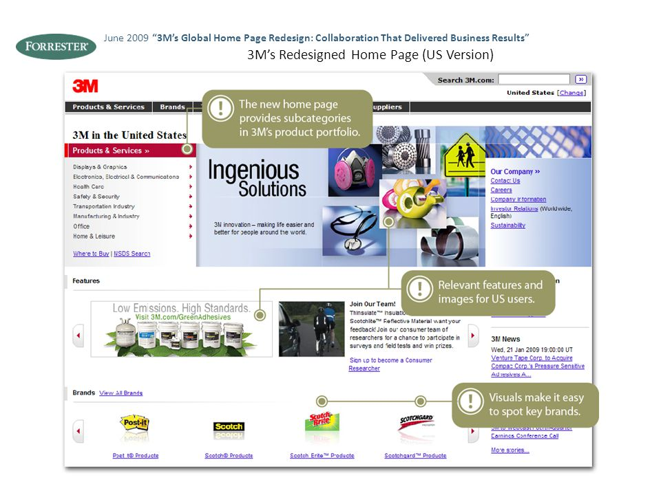 "3M's Redesigned Home Page (US Version) June 2009 ""3M's Global Home Page Redesign: Collaboration That Delivered Business Results"""