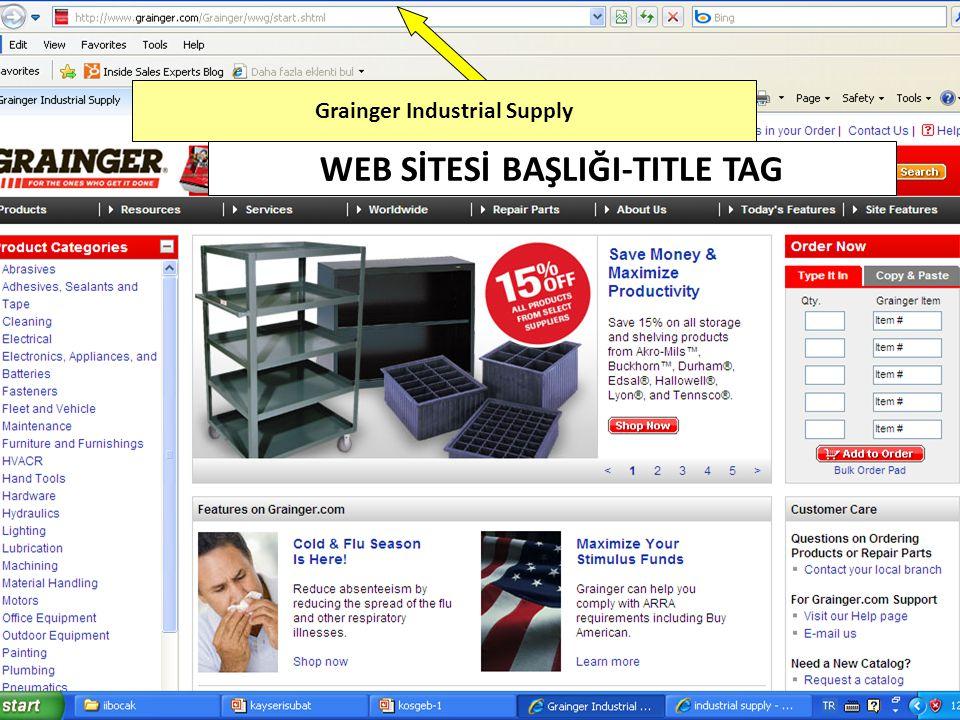 Grainger Industrial Supply WEB SİTESİ BAŞLIĞI-TITLE TAG