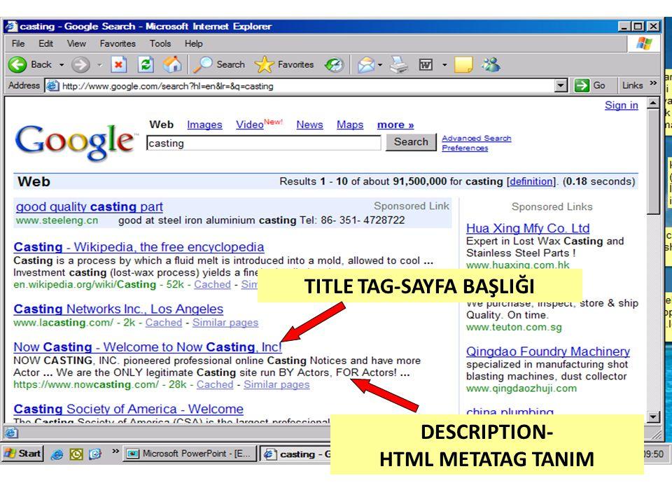 TITLE TAG-SAYFA BAŞLIĞI DESCRIPTION- HTML METATAG TANIM
