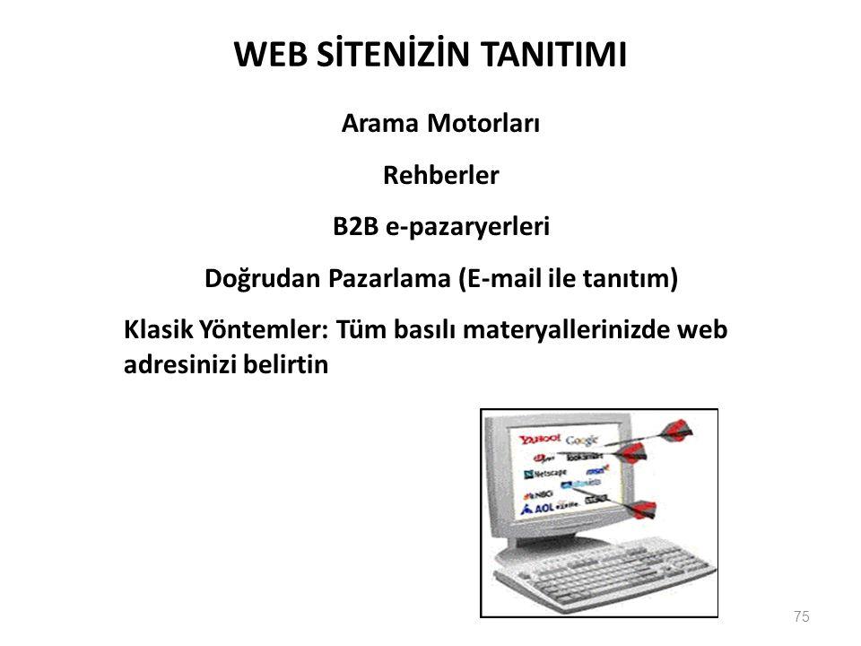 75 WEB SİTENİZİN TANITIMI Arama Motorları Rehberler B2B e-pazaryerleri Doğrudan Pazarlama (E-mail ile tanıtım) Klasik Yöntemler: Tüm basılı materyallerinizde web adresinizi belirtin