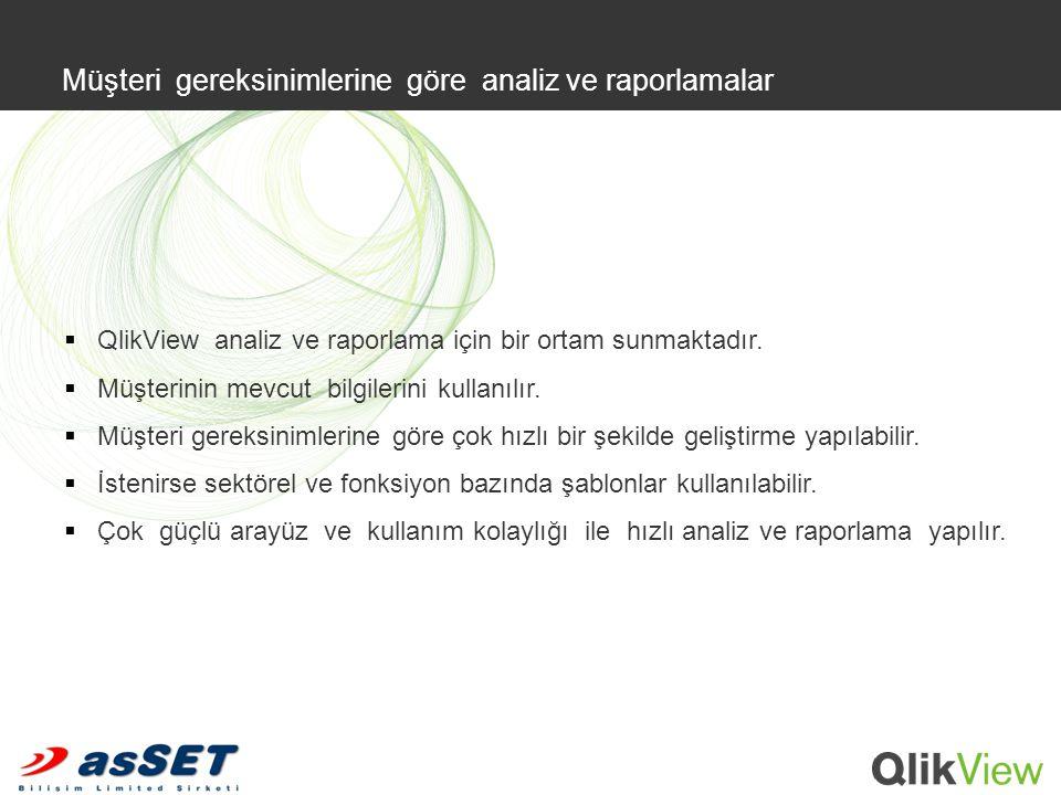  QlikView analiz ve raporlama için bir ortam sunmaktadır.  Müşterinin mevcut bilgilerini kullanılır.  Müşteri gereksinimlerine göre çok hızlı bir ş