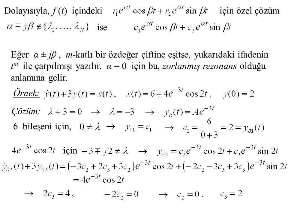 Dolayısıyla, f (t) içindekiiçin özel çözüm ise Eğer α ± jβ, m-katlı bir özdeğer çiftine eşitse, yukarıdaki ifadenin t m ile çarpılmışı yazılır.