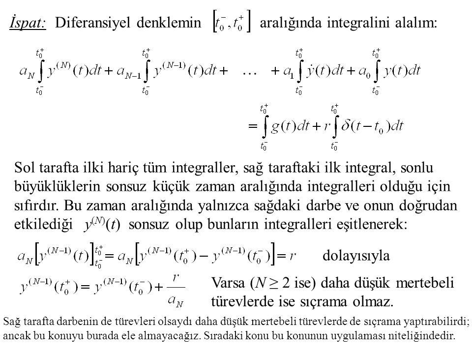 Diferansiyel denkleminaralığında integralini alalım:İspat: Sol tarafta ilki hariç tüm integraller, sağ taraftaki ilk integral, sonlu büyüklüklerin sonsuz küçük zaman aralığında integralleri olduğu için sıfırdır.