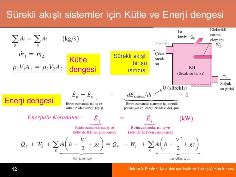 Bölüm 5: Kontrol Hacimleri için Kütle ve Enerji Çözümlemesi 12 Sürekli akışlı sistemler için Kütle ve Enerji dengesi Sürekli akışlı bir su ısıtıcısı K