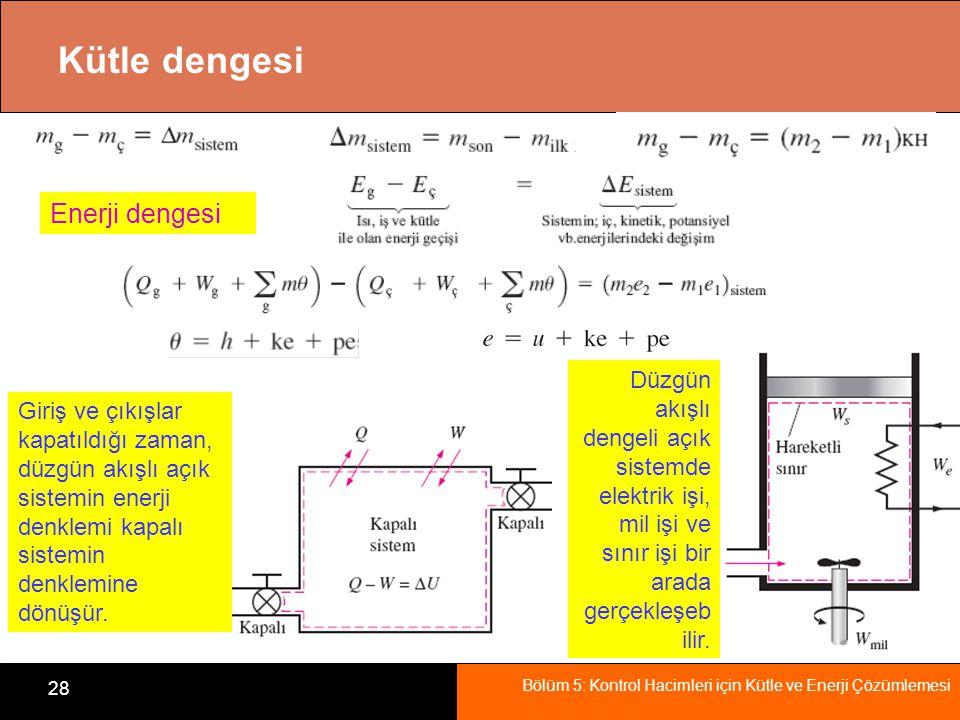 Bölüm 5: Kontrol Hacimleri için Kütle ve Enerji Çözümlemesi 29 Özet Kütlenin korunumu Kütle debisi ve hacimsel debi Sürekli akışlı bir sistem için kütle dengesi Sıkıştırılamaz akış için kütle dengesi Akış işi ve akışkanın enerjisi Kütle ile enerji aktarımı Sürekli akışlı açık sistemlerin enerji analizleri Bazı sürekli akışlı mühendislik sistemleri Lüleler ve Yayıcılar Türbinler ve Kompresörler Kısılma vanaları Karışma odaları ve Isı değiştiricileri Boru ve Kanallarda akış Zamanla değişen açık sistemlerin enerji analizi
