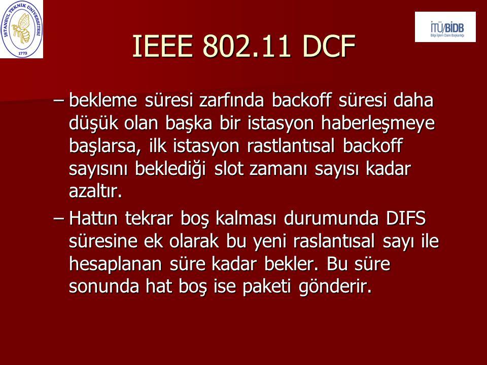 IEEE 802.11 DCF –bekleme süresi zarfında backoff süresi daha düşük olan başka bir istasyon haberleşmeye başlarsa, ilk istasyon rastlantısal backoff sa