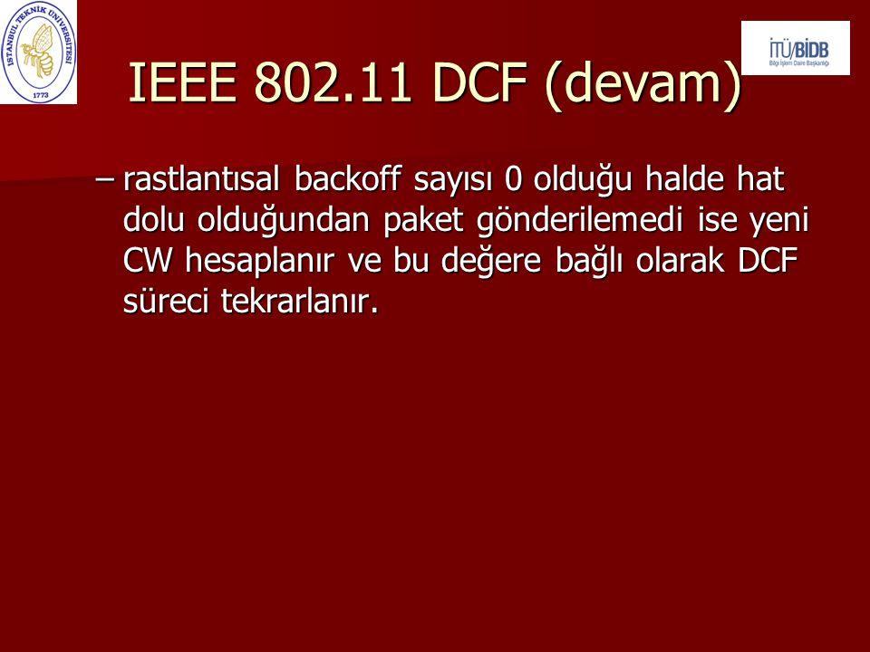 IEEE 802.11 DCF (devam) –rastlantısal backoff sayısı 0 olduğu halde hat dolu olduğundan paket gönderilemedi ise yeni CW hesaplanır ve bu değere bağlı olarak DCF süreci tekrarlanır.
