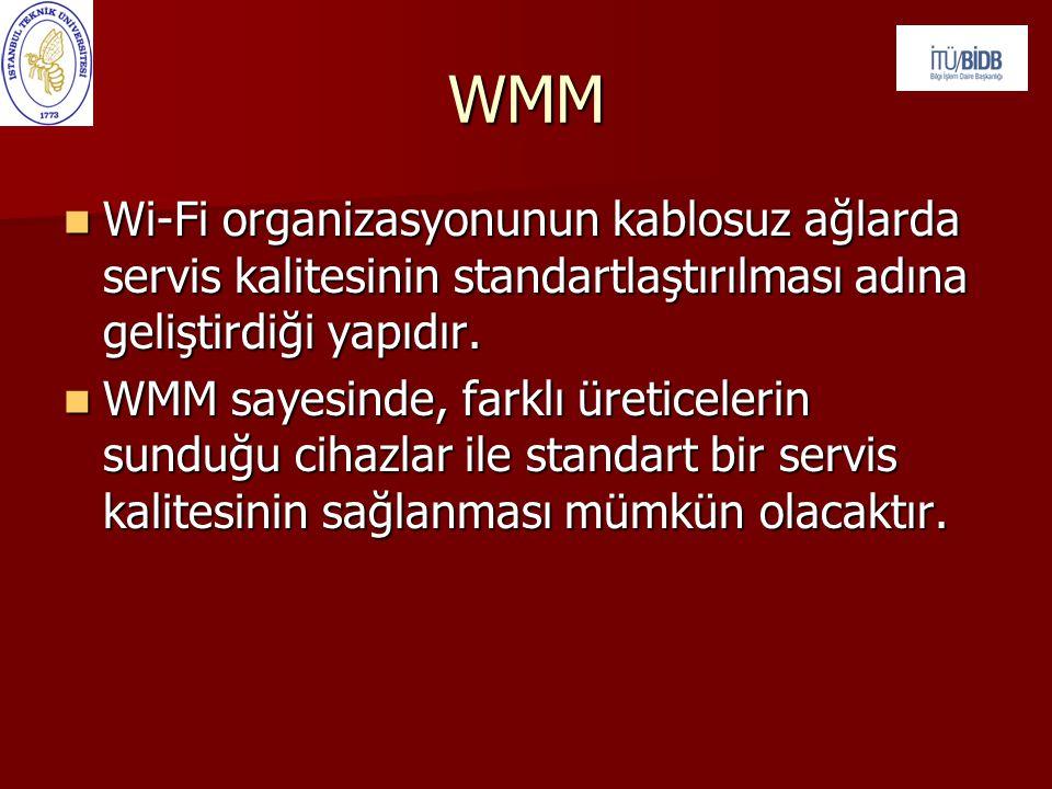 WMM  Wi-Fi organizasyonunun kablosuz ağlarda servis kalitesinin standartlaştırılması adına geliştirdiği yapıdır.