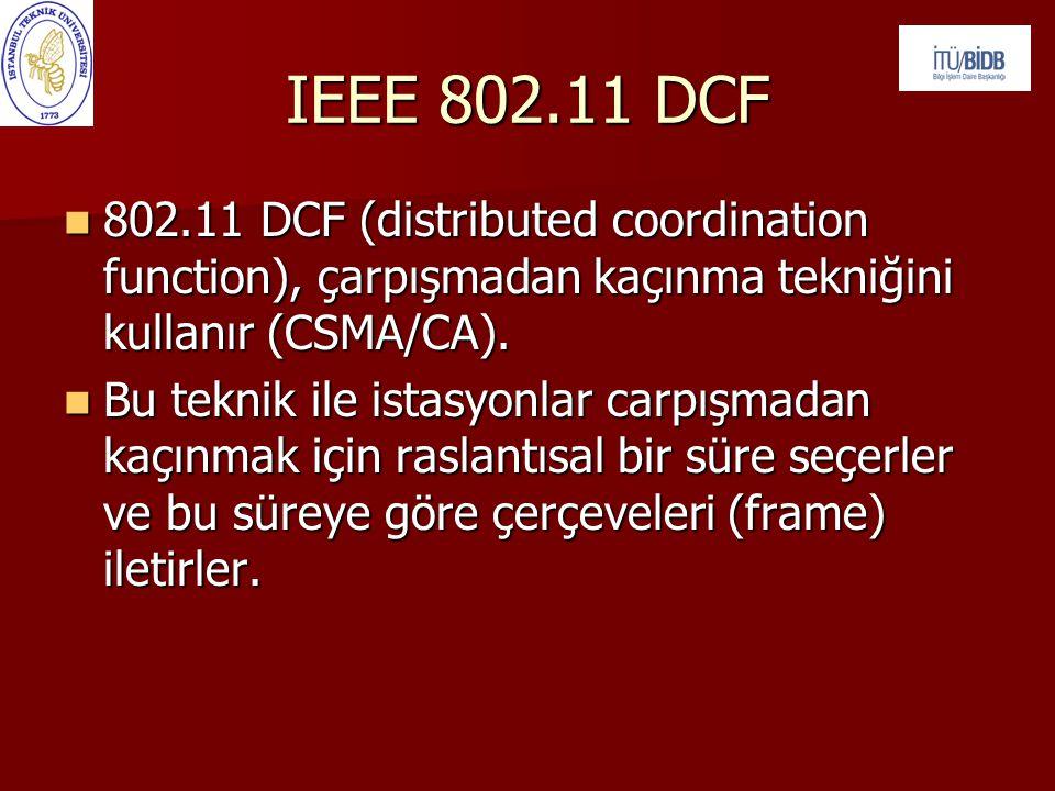 IEEE 802.11 DCF  802.11 DCF (distributed coordination function), çarpışmadan kaçınma tekniğini kullanır (CSMA/CA).  Bu teknik ile istasyonlar carpış